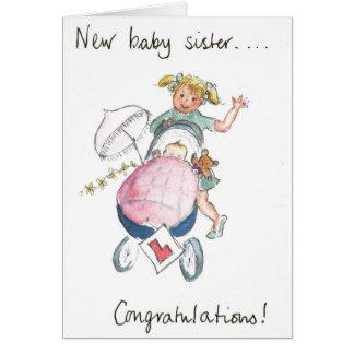 Nouvelle soeur de bébé de félicitations ! carte de vœux
