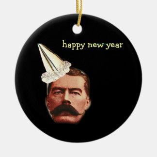 nouvelles années de christmas& ornement rond en céramique