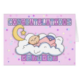 Nouvelles félicitations de bébé de grand-maman carte de vœux