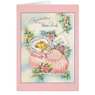 Nouvelles félicitations vintages de bébé à la carte de vœux