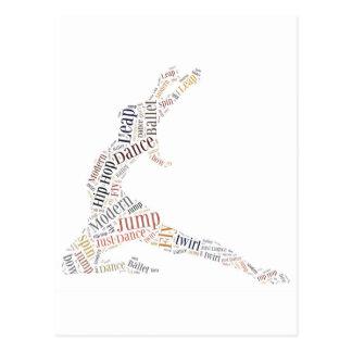 Nuage de mot de danse carte postale