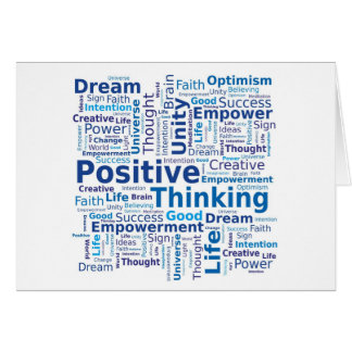 Nuage de pensée positif de mot dans des couleurs carte de vœux