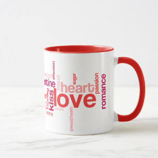 Nuage d'étiquette d'amour avec la tasse nommée