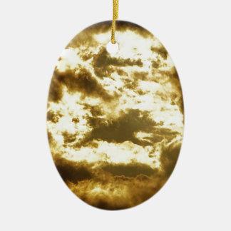 Nuage doré ornement ovale en céramique