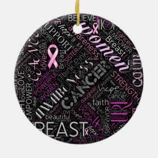 Nuage ID261 de mot de conscience de cancer du sein Ornement Rond En Céramique