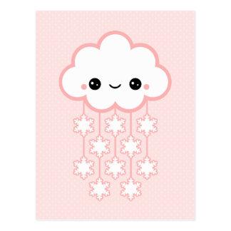 Nuage rose mignon de neige carte postale