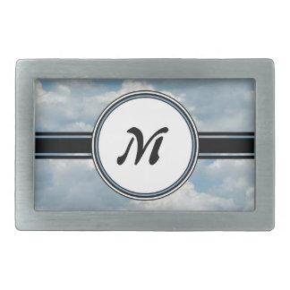 Nuages de détente et monogramme imprimé par ciel boucle de ceinture rectangulaire