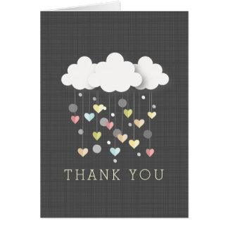 Nuages + Merci neutre de baby shower de coeurs Cartes
