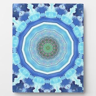 Nuances artistiques modernes de mandala bleu impressions sur plaque
