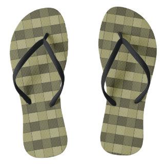 Nuances Checkered de motif kaki de carrés Tongs