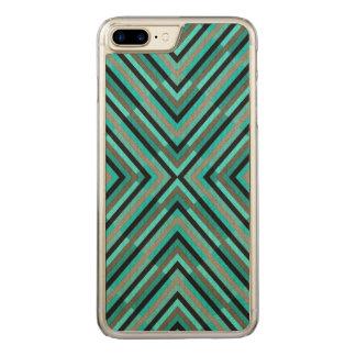 Nuances Checkered diagonales modernes de motif Coque En Bois iPhone 7 Plus