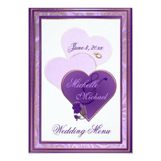 Nuances de lavande et de menu pourpre de mariage carton d'invitation  12,7 cm x 17,78 cm