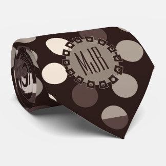 Nuances de monogramme audacieux de pois de Brown Cravate