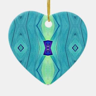 Nuances modernes vibrantes de menthe turquoise de ornement cœur en céramique