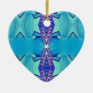 Nuances modernes vibrantes de pourpre bleu ornement cœur en céramique