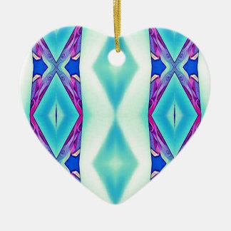 Nuances tribales modernes de lavande turquoise ornement cœur en céramique