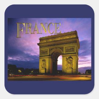 Nuit au TEXTE France d Arc de Triomphe Sticker Carré
