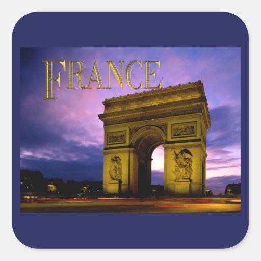 Nuit au TEXTE France d'Arc de Triomphe Sticker Carré