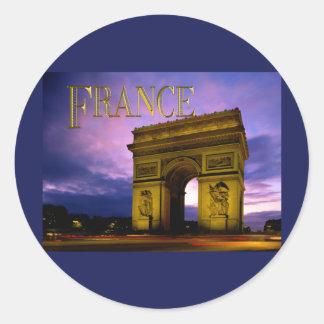 Nuit au TEXTE France d'Arc de Triomphe Adhésifs Ronds