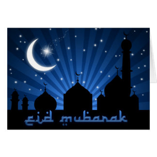 Nuit bleue de mosquée d'Eid - carte de voeux