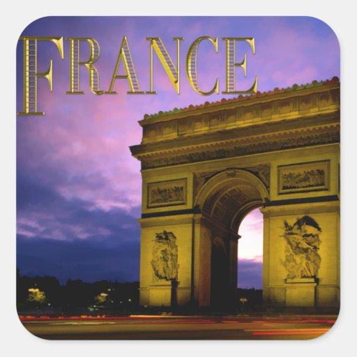 Nuit chez Arc de Triomphe France Sticker Carré