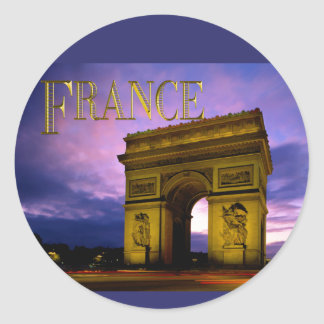 Nuit chez Arc de Triomphe France Adhésif Rond