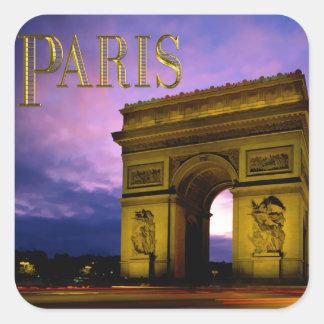 Nuit chez Arc de Triomphe Paris Autocollants Carrés