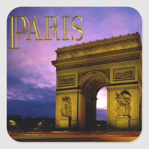 Nuit chez Arc de Triomphe Paris Stickers Carrés