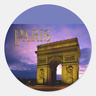 Nuit chez Arc de Triomphe Paris Autocollant Rond
