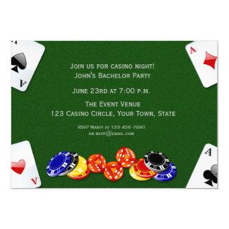 Nuit de casino carton d'invitation  12,7 cm x 17,78 cm