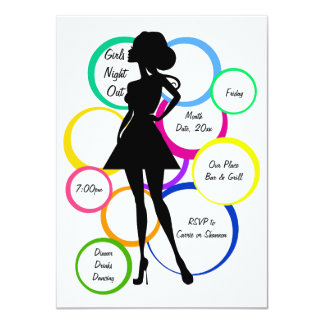 Nuit de filles de diva de disco carton d'invitation  11,43 cm x 15,87 cm