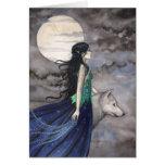 Nuit de la carte de voeux de loup