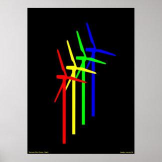 Nuit de moulin à vent - énergie éolienne de Siemen Affiche