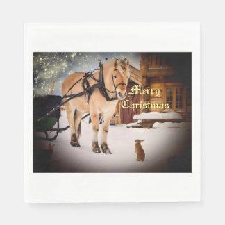 Nuit de Noël étoilée à la ferme avec le cheval Serviettes En Papier