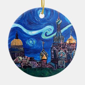 Nuit étoilée à St Petersburg Russie Ornement Rond En Céramique