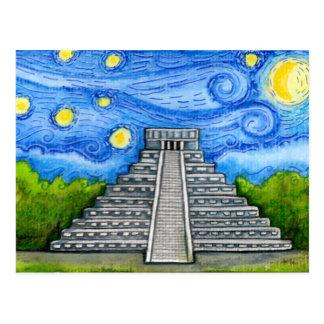 Nuit étoilée au-dessus des ruines aztèques carte postale
