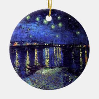 Nuit étoilée au-dessus du Rhône par Van Gogh Ornement Rond En Céramique