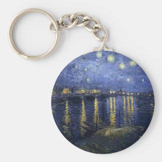 Nuit étoilée au-dessus du Rhône Porte-clé Rond