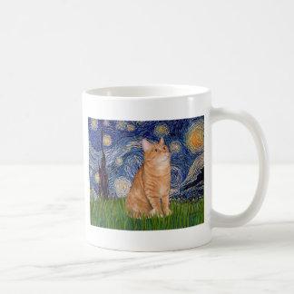 Nuit étoilée - chat tigré orange 46 mug blanc