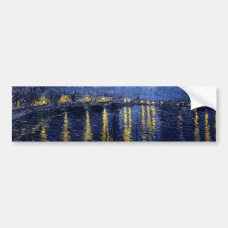 Nuit étoilée de Van Gogh au-dessus du Rhône Autocollant De Voiture