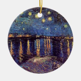 Nuit étoilée de Van Gogh au-dessus du Rhône, Ornement Rond En Céramique