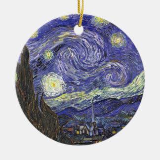 Nuit étoilée de Van Gogh, paysage vintage de Ornement Rond En Céramique