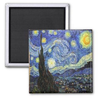 Nuit étoilée par Vincent van Gogh 1889 Magnet Carré