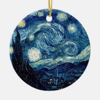 Nuit étoilée par Vincent van Gogh Ornement Rond En Céramique