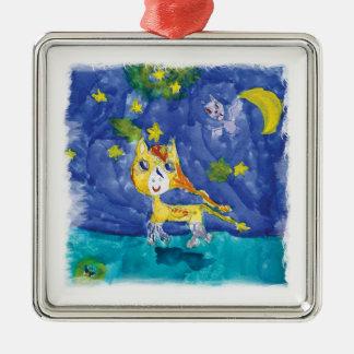 Nuit étoilée Pegasus d'aquarelle avec la batte Ornement Carré Argenté