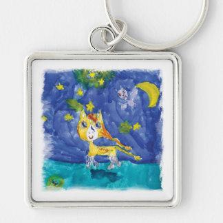 Nuit étoilée Pegasus d'aquarelle avec la batte Porte-clés