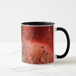 Nuit étoilée rouge surréaliste mug