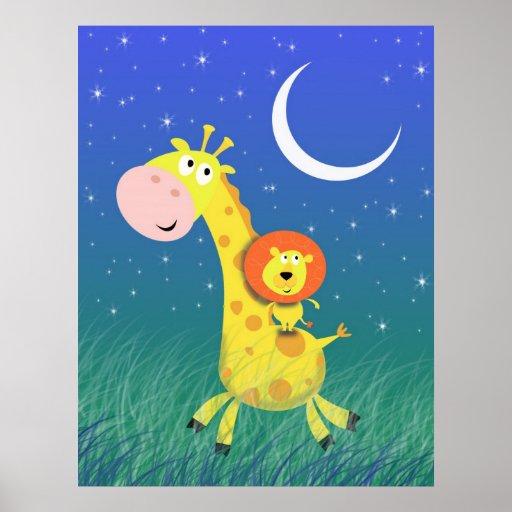 Nuit étoilée sur la copie de l'art de l'enfant de  affiche
