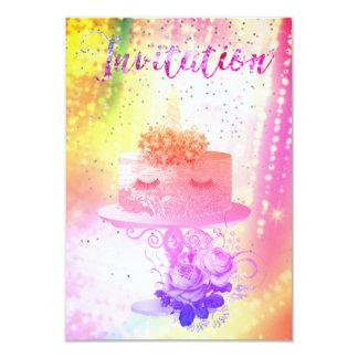 Nuit étoilée vive rose lumineuse de licorne de carton d'invitation 8,89 cm x 12,70 cm
