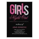 Nuit scintillante de filles/partie de Bachelorette Carton D'invitation